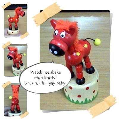 Wooden Red Horse String Toy